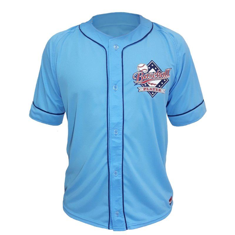 camisa baseball player azul celeste frente