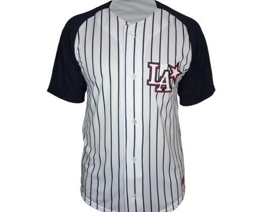 """Baseball Jersey """"LA"""" – Listrada com Mangas Pretas 3383ec9754d"""