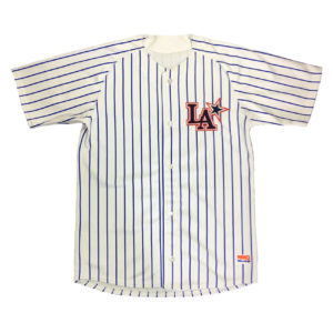 "Baseball Jersey ""LA"" Branca com Listras Azul Royal"